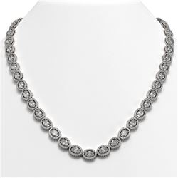 34.96 CTW Oval Diamond Designer Necklace 18K White Gold - REF-6441K8W - 42704