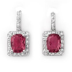 3.50 CTW Pink Tourmaline & Diamond Earrings 14K White Gold - REF-74F2N - 10995