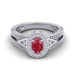 0.83 CTW Ruby & VS/SI Diamond Designer Solitaire Halo Fashion Ring 10K White Gold - REF-25A8X - 2083