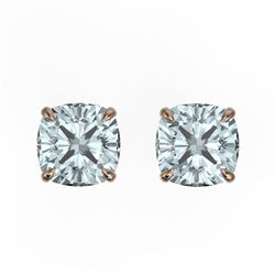 3 CTW Cushion Cut Aquamarine Designer Solitaire Stud Earrings 14K Rose Gold - REF-30Y8K - 21731