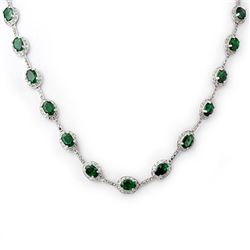 21.0 CTW Emerald & Diamond Necklace 14K White Gold - REF-252M2H - 10418