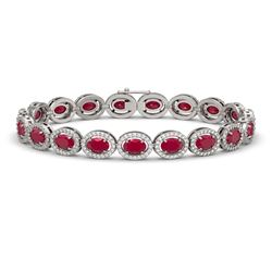 15.2 CTW Ruby & Diamond Halo Bracelet 10K White Gold - REF-255H3A - 40454