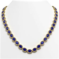 52.15 CTW Sapphire & Diamond Halo Necklace 10K Yellow Gold - REF-655H3A - 40561