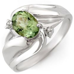 1.27 CTW Green Tourmaline & Diamond Ring 10K White Gold - REF-24W5F - 10709