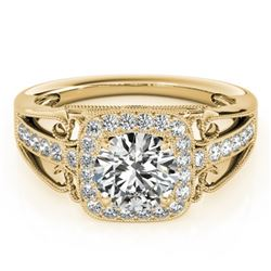 1.3 CTW Certified VS/SI Diamond Solitaire Halo Ring 18K Yellow Gold - REF-388X8T - 26553