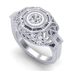 0.75 CTW VS/SI Diamond Art Deco Ring 18K White Gold - REF-200H2A - 37043