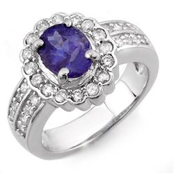 2.60 CTW Tanzanite & Diamond Ring 14K White Gold - REF-100M2H - 10685