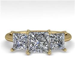 2.0 CTW Princess VS/SI Diamond 3 Stone Designer Ring 18K Yellow Gold - REF-390X2T - 32473