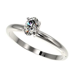 0.50 CTW Certified VS/SI Quality Oval Diamond Engagement Ring 10K White Gold - REF-77T6M - 32865