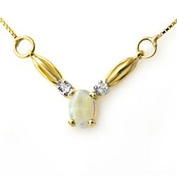 1.30 CTW Opal & Diamond Necklace 10K Yellow Gold - REF-21N6Y - 12585