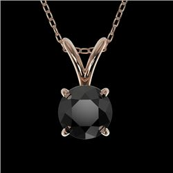0.50 CTW Fancy Black VS Diamond Solitaire Necklace 10K Rose Gold - REF-16W5F - 33157