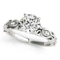 0.6 CTW Certified VS/SI Diamond Solitaire Antique Ring 18K White Gold - REF-126K8W - 27267