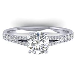 1.36 CTW Certified VS/SI Diamond Solitaire Art Deco Ring 14K White Gold - REF-353Y3K - 30375
