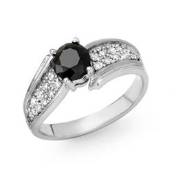1.40 CTW VS Certified Black & White Diamond Ring 14K White Gold - REF-71W5F - 14088