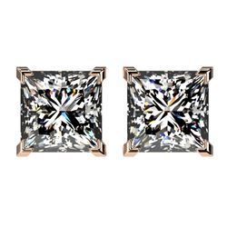 2.50 CTW Certified VS/SI Quality Princess Diamond Stud Earrings 10K Rose Gold - REF-840H2A - 33115