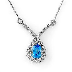 1.05 CTW Blue Topaz Necklace 14K White Gold - REF-31F3N - 12600