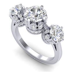 3.06 CTW VS/SI Diamond Solitaire Art Deco 3 Stone Ring 18K White Gold - REF-576X4T - 36848