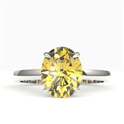 2.50 CTW Citrine Designer Inspired Solitaire Ring 18K White Gold - REF-36X2T - 22058