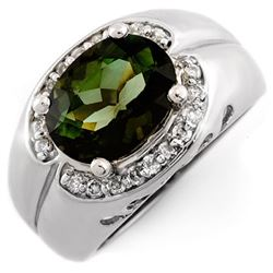 3.58 CTW Green Tourmaline & Diamond Ring 10K White Gold - REF-86X4T - 10074