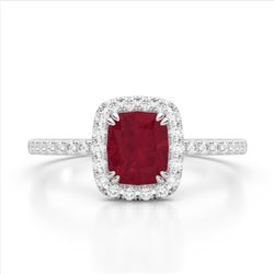 1.25 CTW Ruby & Micro Pave VS/SI Diamond Halo Ring 10K White Gold - REF-34T2M - 22908