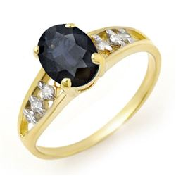 1.60 CTW Blue Sapphire & Diamond Ring 10K Yellow Gold - REF-16X9T - 13726