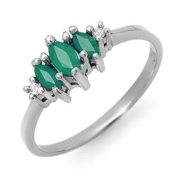 0.37 CTW Emerald & Diamond Ring 18K White Gold - REF-23W3F - 12564