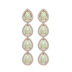 6.2 CTW Opal & Diamond Halo Earrings 10K Rose Gold - REF-148A9X - 41154