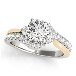 1.35 CTW Certified VS/SI Diamond Bypass Solitaire Ring 18K White & Yellow Gold - REF-219A6X - 27741