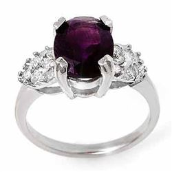 2.65 CTW Amethyst & Diamond Ring 10K White Gold - REF-30K2W - 13594