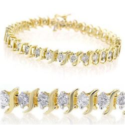 8.0 CTW Certified VS/SI Diamond Bracelet 14K Yellow Gold - REF-560H8A - 13243