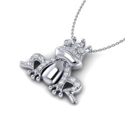0.25 CTW Micro Pave VS/SI Diamond Frog Necklace White 10K White Gold - REF-30A8X - 22496