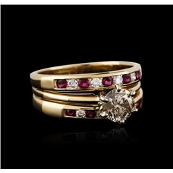 14KT Yellow Gold 1.08 ctw Diamond and Ruby Ring