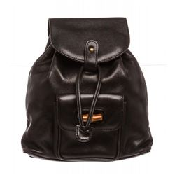 Gucci Black Leather Drawstring Bamboo Mini Backpack