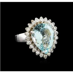 5.65 ctw Aquamarine and Diamond Ring - 14KT White Gold