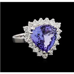 5.49 ctw Tanzanite and Diamond Ring - 14KT White Gold
