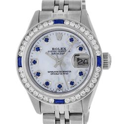 Rolex Ladies Stainless Steel Mother Of Pearl Sapphire And Diamond Datejust Wrist
