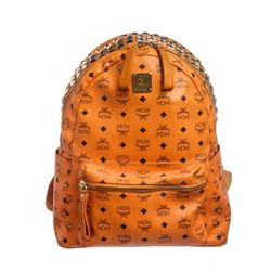 MCM Orange Visetos Coated Canvas Medium Stark Pyramid Crown Top Backpack