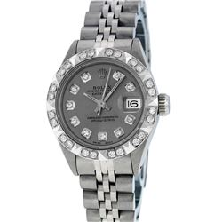 Rolex Ladies SS Slate Grey Diamond Pyramid Bezel Datejust Wristwatch