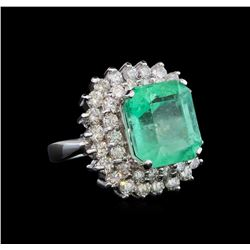 GIA Cert 8.77 ctw Emerald and Diamond Ring - 14KT White Gold