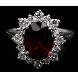 4.20 ctw Rhodolite Garnet and Diamond Ring - 14KT White Gold