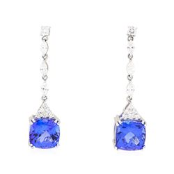 8.37 ctw Tanzanite And Diamond Earrings - 14KT White Gold