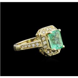 2.30 ctw Emerald and Diamond Ring - 14KT Yellow Gold