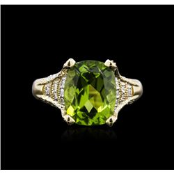4.24 ctw Peridot and Diamond Ring - 14KT Yellow Gold
