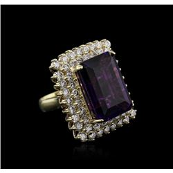 14KT Yellow Gold 16.80 ctw Amethyst and Diamond Ring