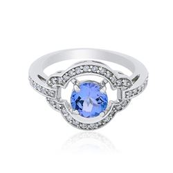 14KT White Gold 1.29 ctw Tanzanite and Diamond Ring