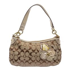 Coach Brown Gold Monogram Canvas Shoulder Handbag