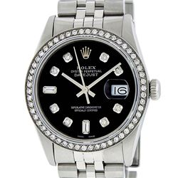 Rolex Mens Stainless Steel Black 8 + 2 Diamond Datejust Wristwatch