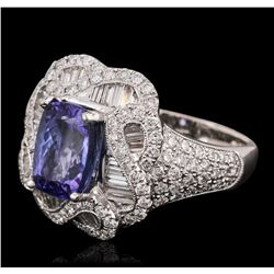 18KT White Gold 3.35 ctw Tanzanite and Diamond Ring