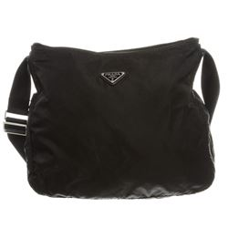 Prada Black Nylon Zip Top Shoulder Bag
