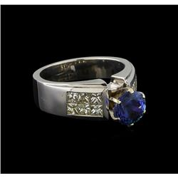 14KT White Gold 1.92 ctw Tanzanite and Diamond Ring